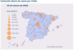 Mapa de casos per Comunitat Autònoma publicat per Sanitat