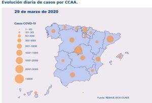 Mapa dels casos de coronavirus amb les dades d'aquest diumenge