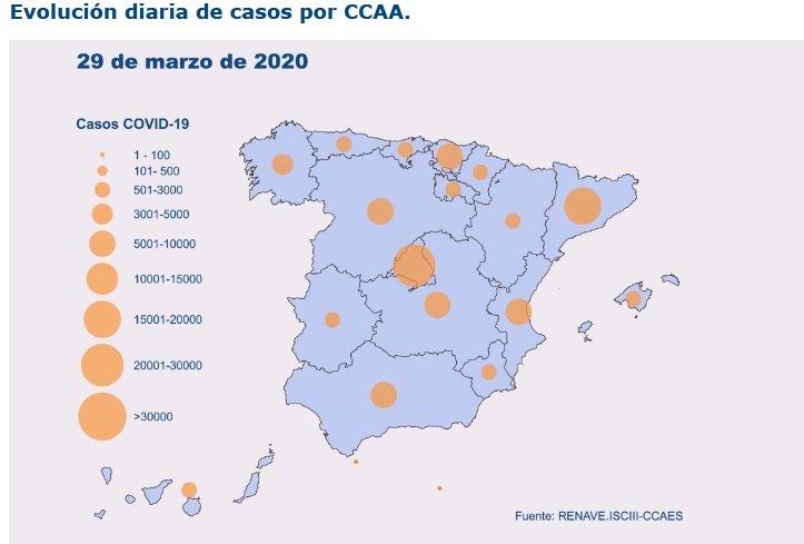 Mapa de los casos de coronavirus con los datos de este domingo