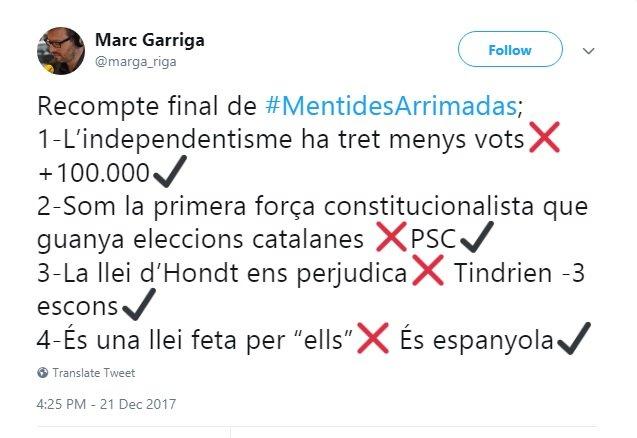 Piulada de Marc Garriga contra Inés Arrimadas