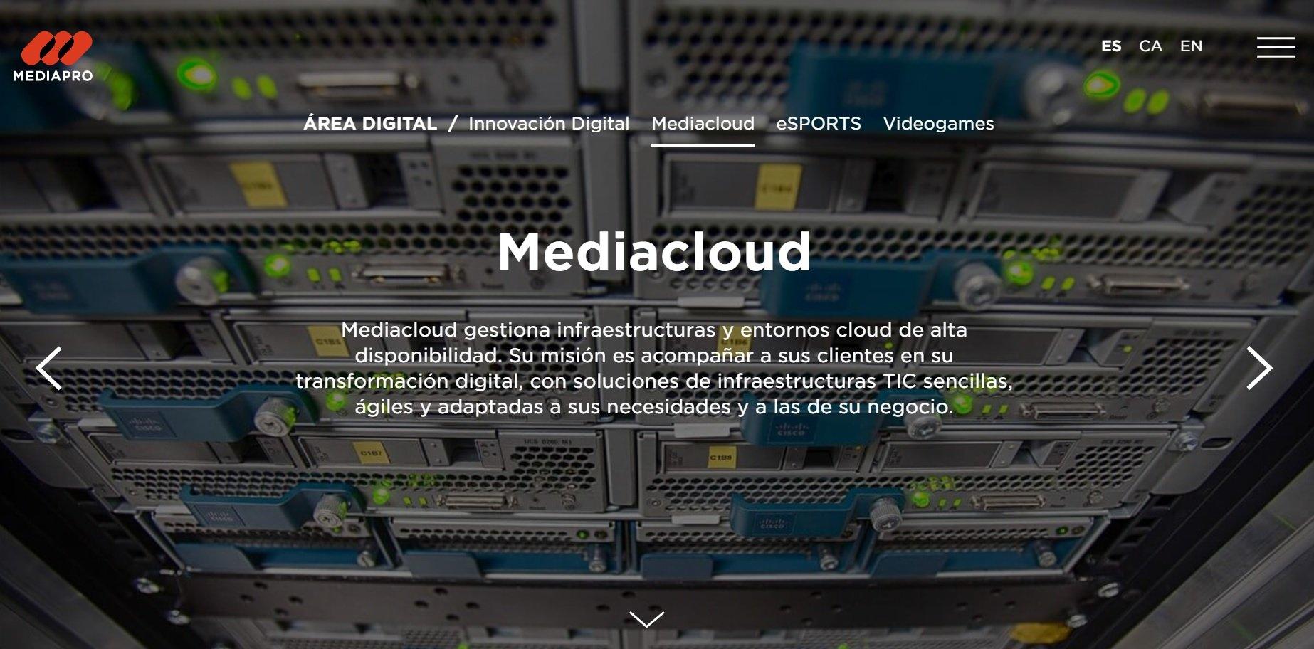 Imagen de la web de Mediacloud, empresa del grupo Mediapro