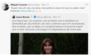 Tuit de Miquel Curanta donant suport a Laura Borràs