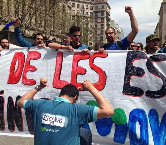 Tècnics de Movistar en vaga, a plaça Catedral