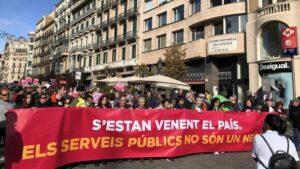 Manifestación en Barcelona contra la privatización de servicios públicos