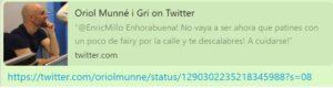 El tuit del periodista de Catalunya Ràdio Oriol Munné contra Enric M