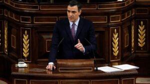 Pedro Sánchez, en la seva intervenció al Congrés dels Diputats
