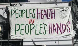 Pancarta a favor de la salut pública