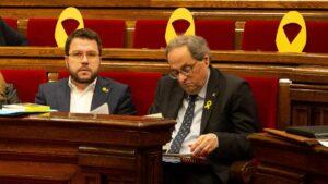 El vicepresidente del govern, Pere Aragonés, y el presidente de la Gene
