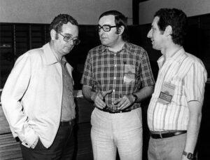 Joan Reventós, Josep Maria Triginer y Josep Verde juntos en el congreso f