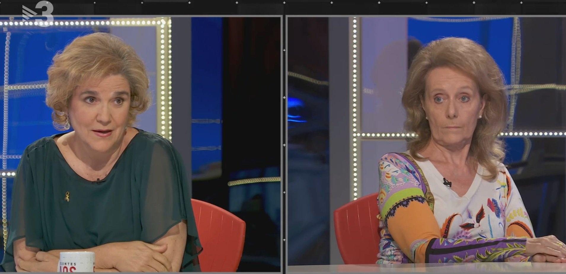 Pilar Rahola i Mariàngela Vilallonga, al programa 'FAQS', de TV3