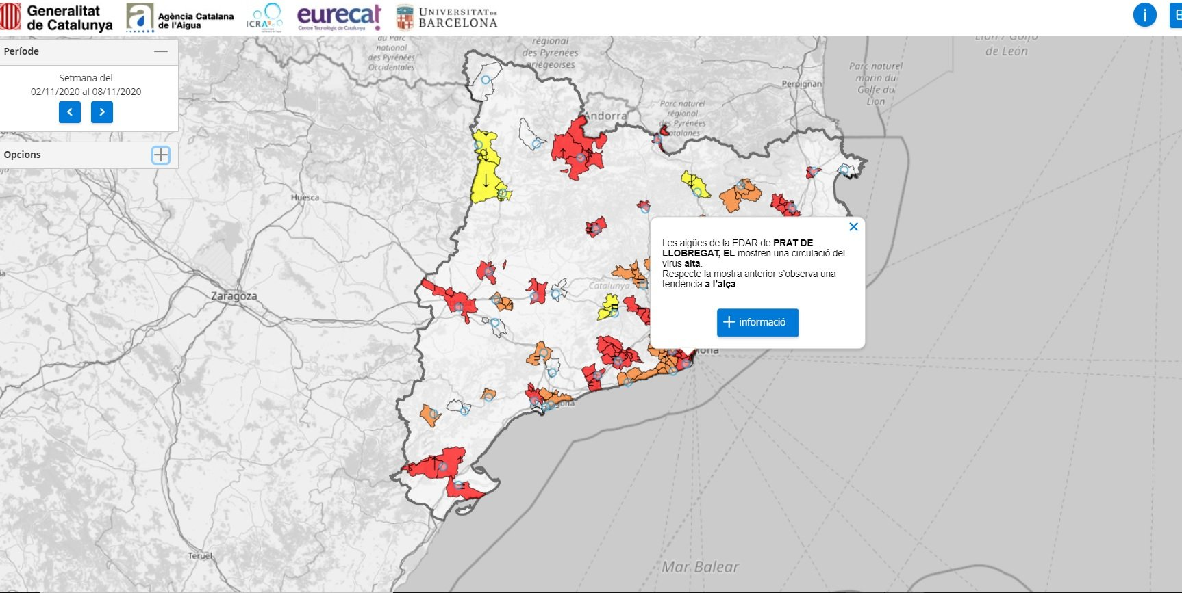 Plataforma per informar de la presència de Sars CoV 2 a les aigües r