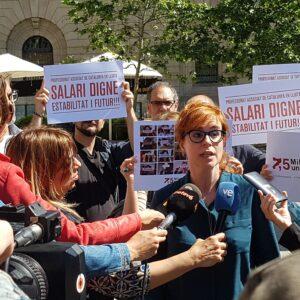Roda de premsa per presentar les reivindicacions dels professors assoc
