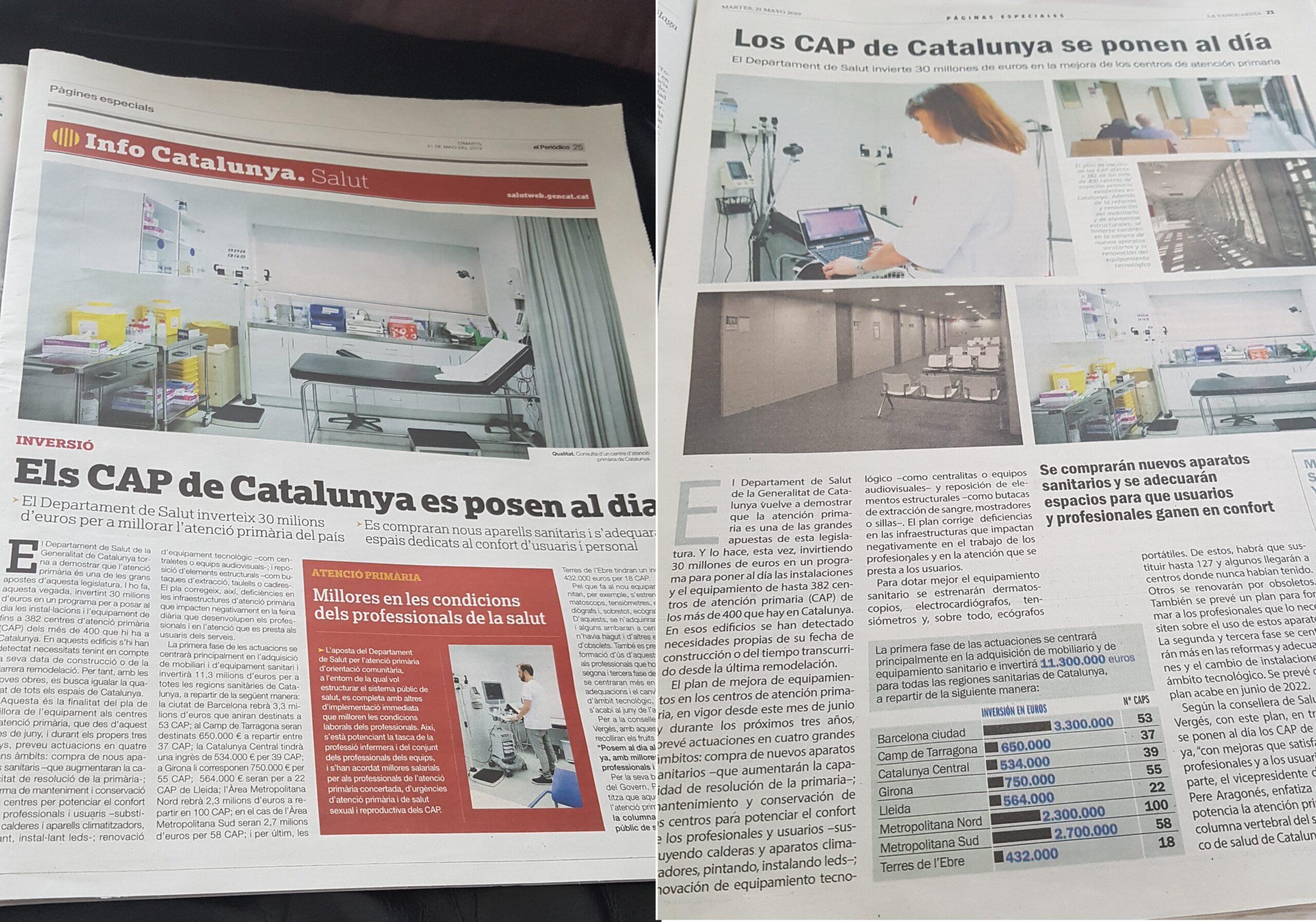 Propaganda del departament de Salut a El Periódico i La Vanguardia