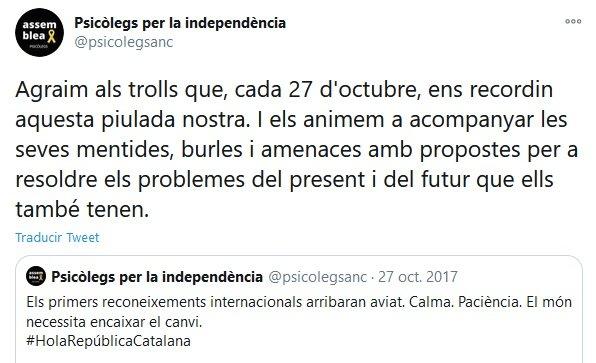 Tuits de Psicòlegs per la independència