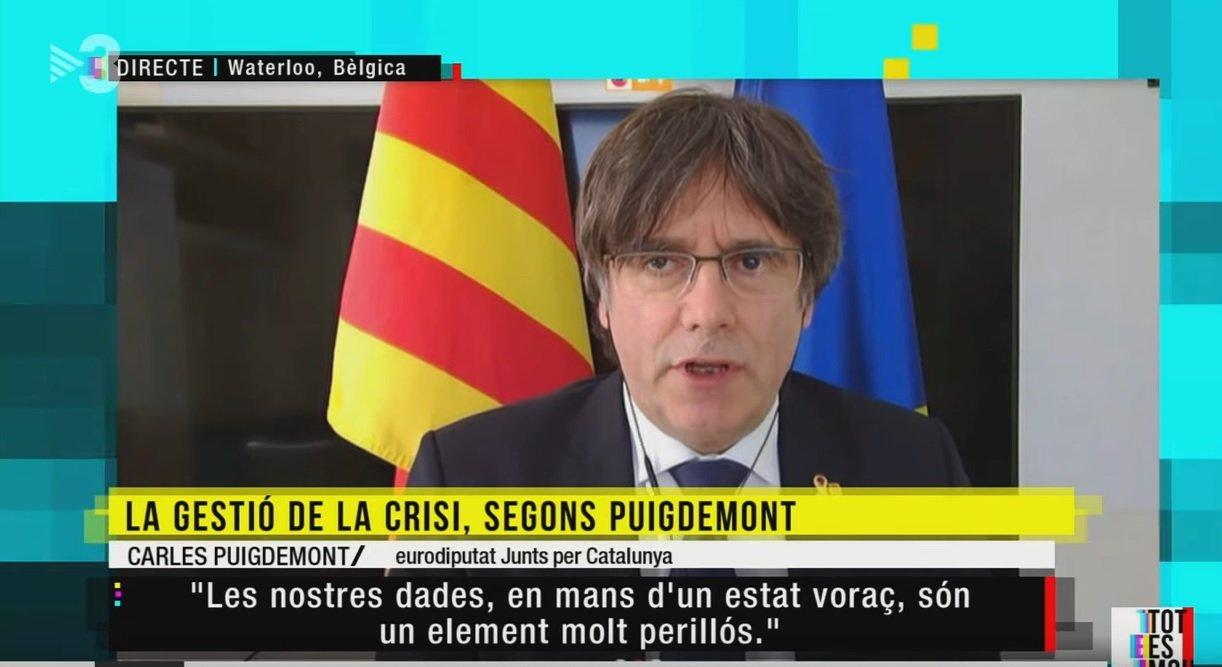 Puigdemont, durant una entrevista a TV3