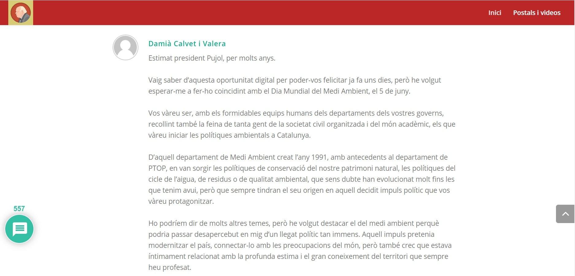 Felicitació de Damià Calvet a Jordi Pujol pel seu norantè aniversar