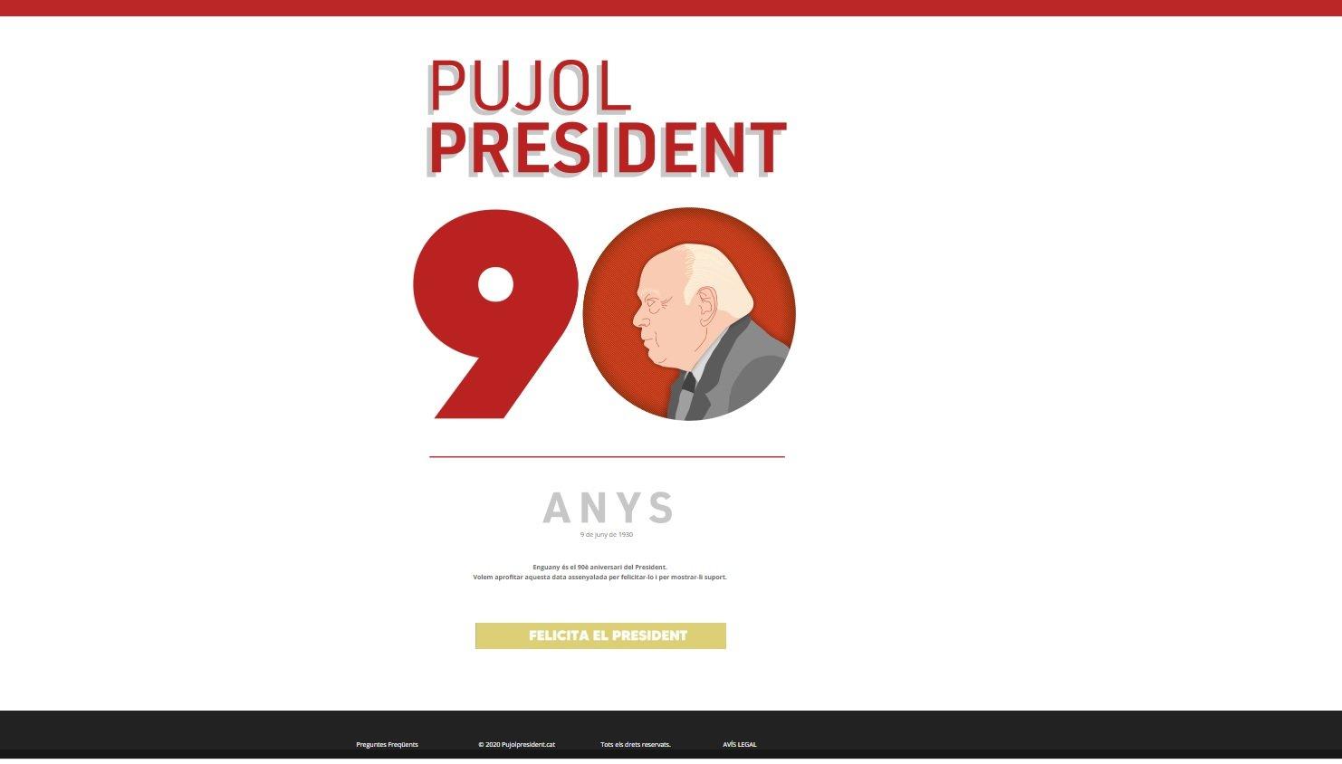 Web que ha recogido las felicitaciones a Jordi Pujol por su 90 anive