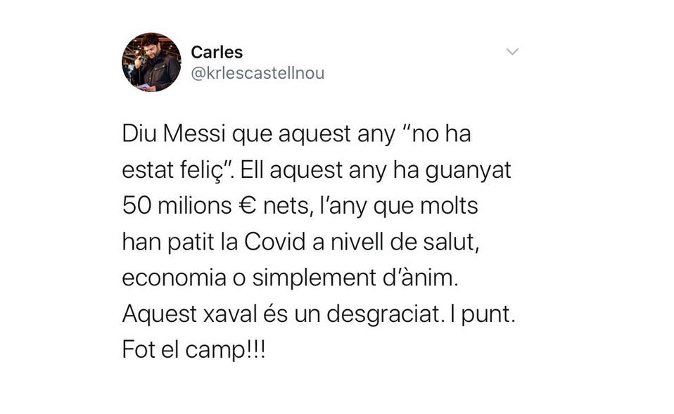 Tuit de Carles Castellnou contra Leo Messi