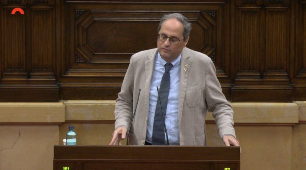 Quim Torra, en el Pleno sobre el caos de las residencias por la Covid-1