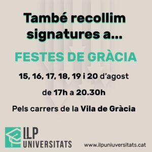 Recollida de firmes per la ILP Universitats a les festes de Gràcia