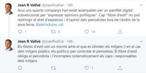 Piulades on el periodista de TV3 Joan R Vallvé critica el Llibre d'Es