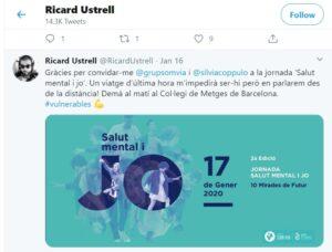 Missatge de Ricard Ustrell al seu twitter el gener de 2020