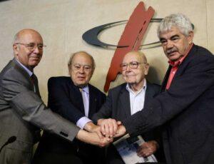 Joan Rigol, Jordi Pujol, Heribert Barrera i Pasqual Maragall, al Col·