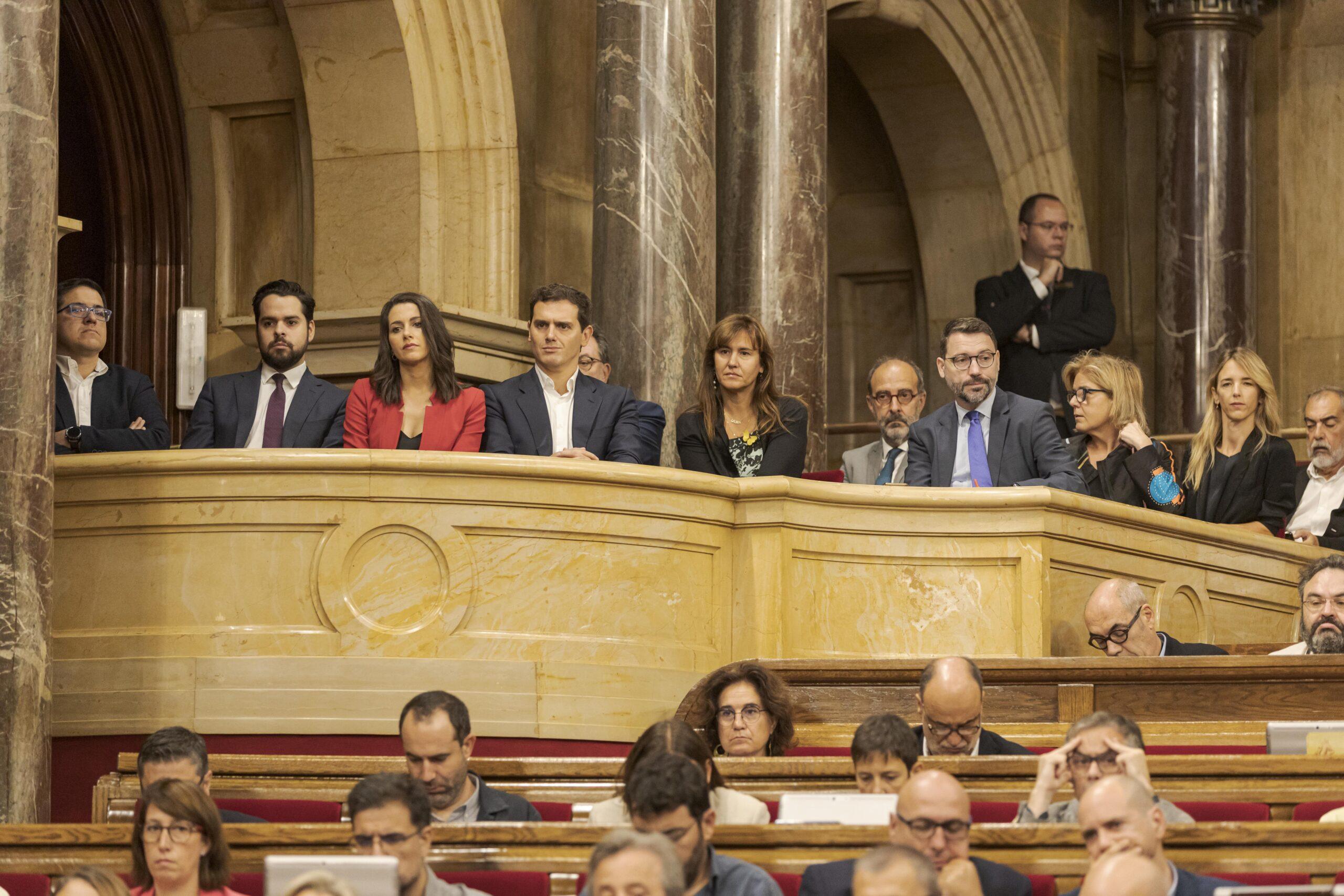 Inés Arrimadas i Albert Rivera durant la moció de censura.