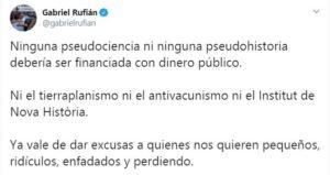 Piulada de Gabriel Rufián sobre l'Institut Nova Història