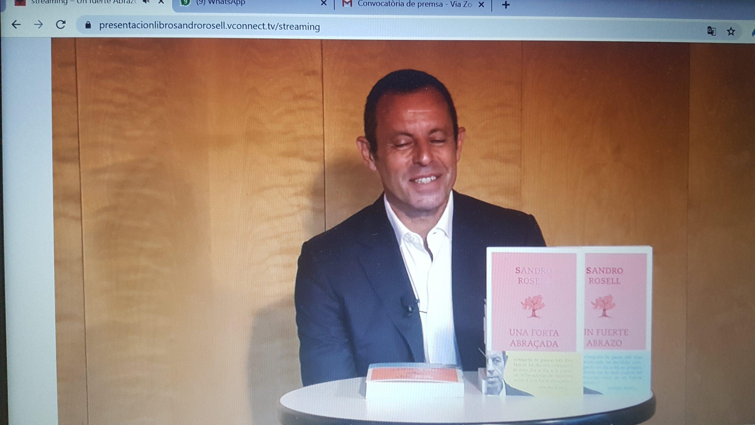 Sandro Rosell, en la rueda de prensa virtual para presentar 'Una fuerte