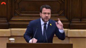 Pere Aragonés en el Parlamento de Cataluña.