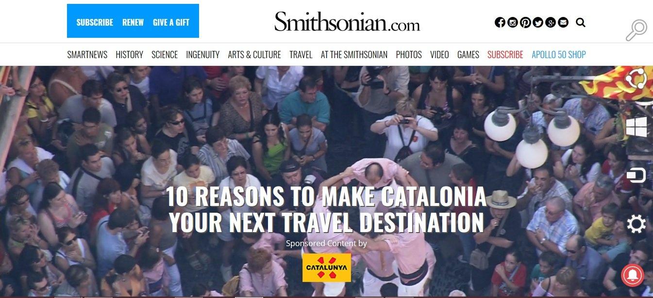 Publicitat inserida pel govern a la web de l'Institut Smithsonian