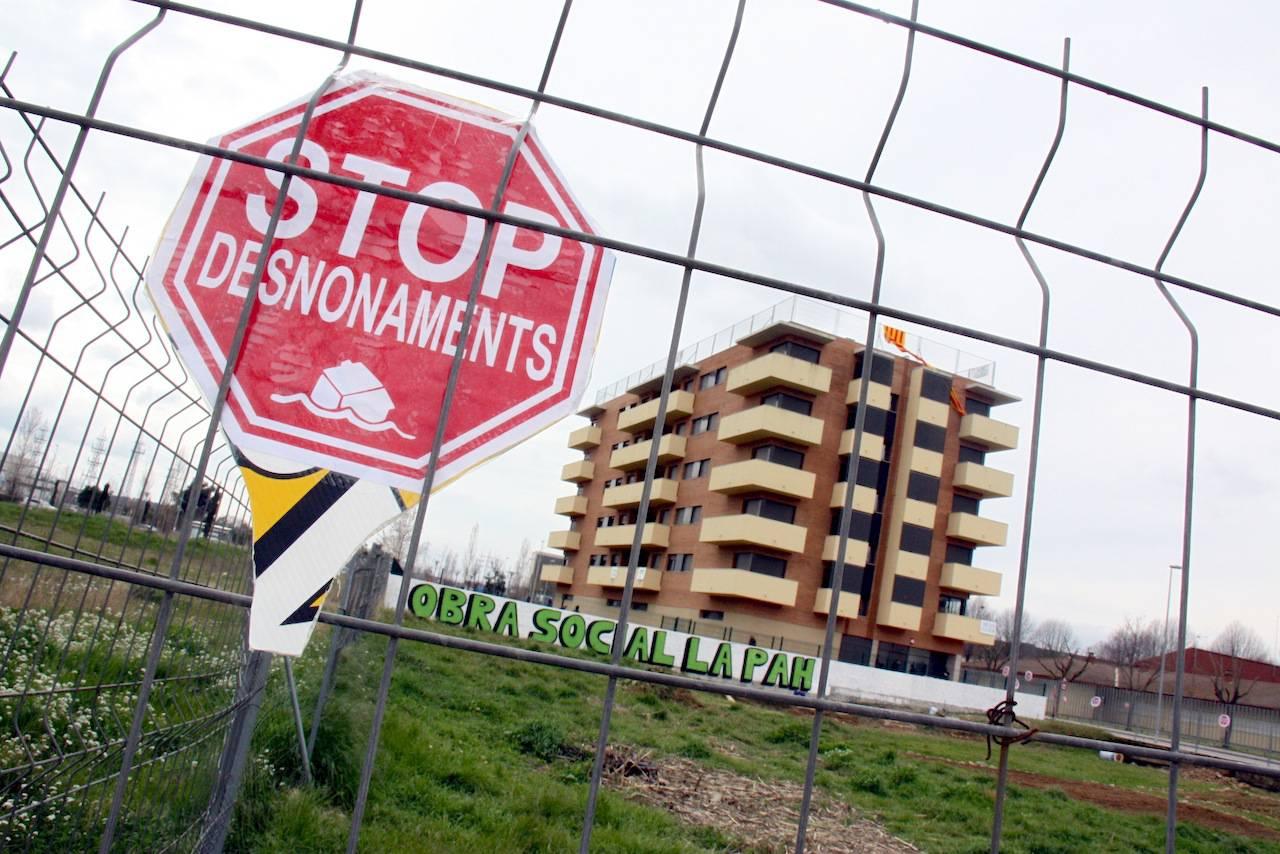 Un senyal que indica 'stop desnonaments'