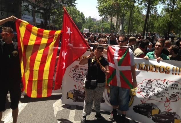 Protesta del sector del taxi, dimecres a Barcelona