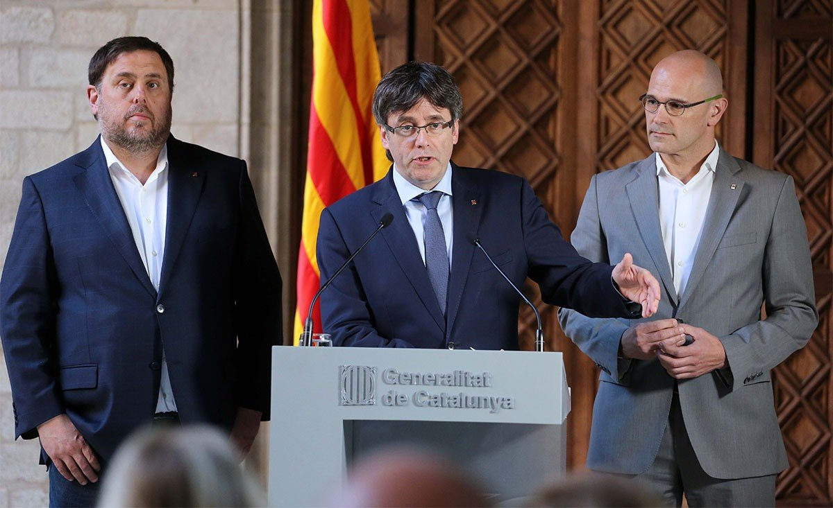 Oriol Junqueras, Carles Puigdemont y Raül Romeva