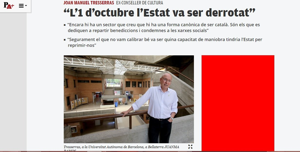 Entrevista de El Punt Avui a Joan Manuel Tresserras