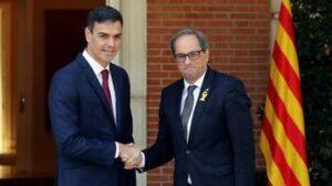 Pedro Sánchez amb Quim Torra a Moncloa