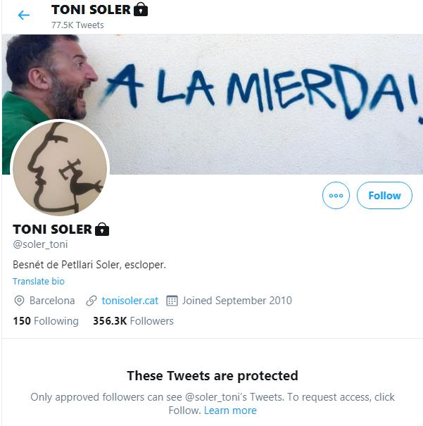 La cuenta de twitter de Toni Soler ha dejado de estar abierta a todo el mundo