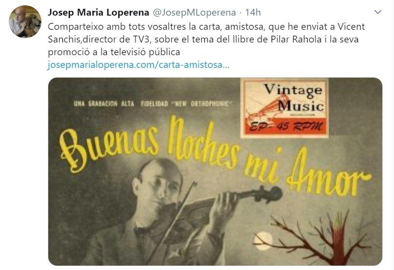 Tuit de Josep Maria Loperena con la carta que ha enviado a Vicent Sanch