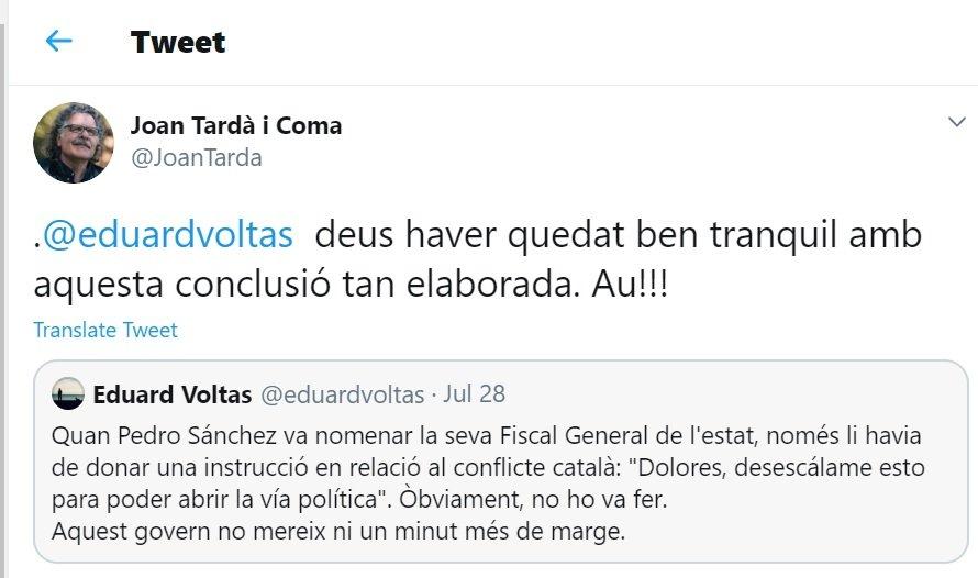 Controvèrsia a twitter entre Joan Tardà i Eduard Voltas
