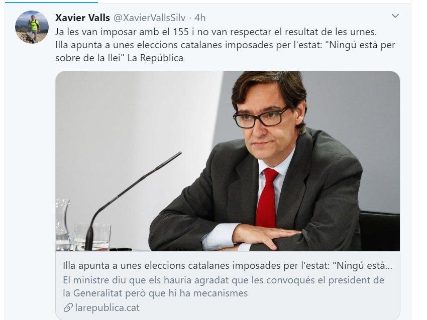 Tuit de Xavier Valls contra Salvador Illa que ha borrado y vuelto a