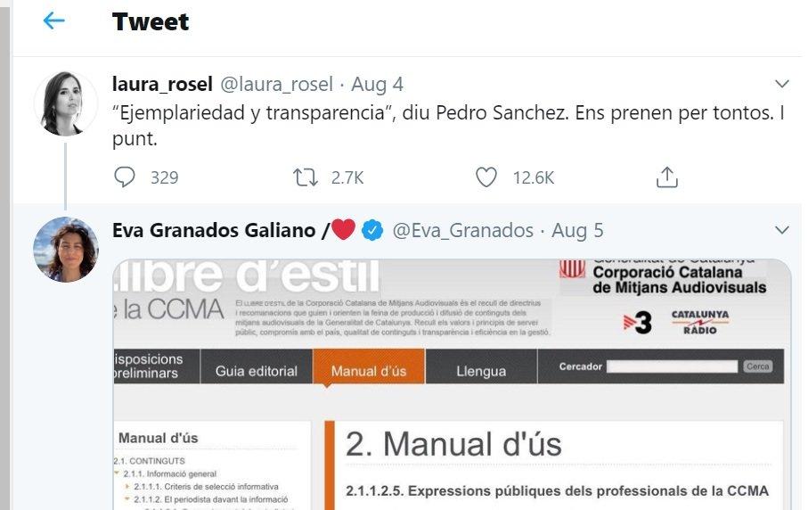Mensaje de Laura Rosel en Twitter y respuesta de Eva Granados