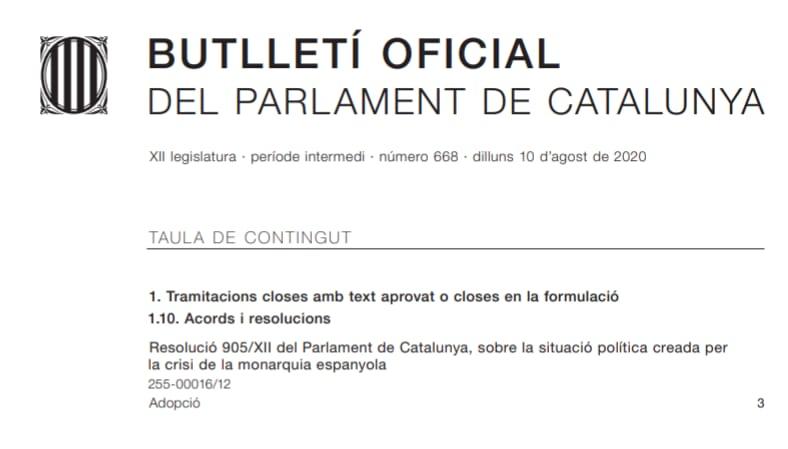 Portada del Butlletí Oficial del Parlament
