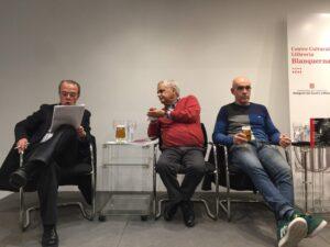 Jordi Xargayó, Juan Cruz y Albert Soler, en la Librería Blanquerna e