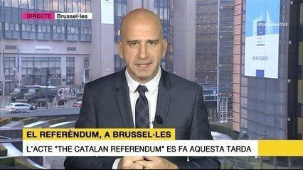 Xavi Coral, interviniendo a TV3 desde Bruselas