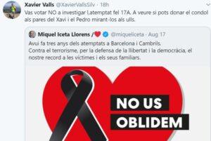 Mensaje en Twitter del periodista de TV3 Xavier Valls criticando a Miquel Iceta