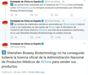 Tuits de l'ambaixada xinesa sobre Shenzhen Bioeasy Biotechnology