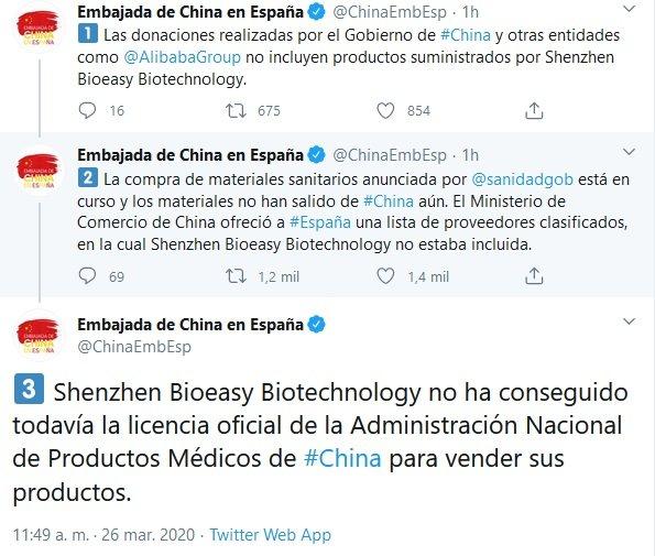 Tuits de la embajada china sobre Shenzhen Bioeasy Biotechnology