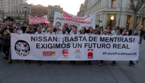 Manifestació dels treballadors de Nissan
