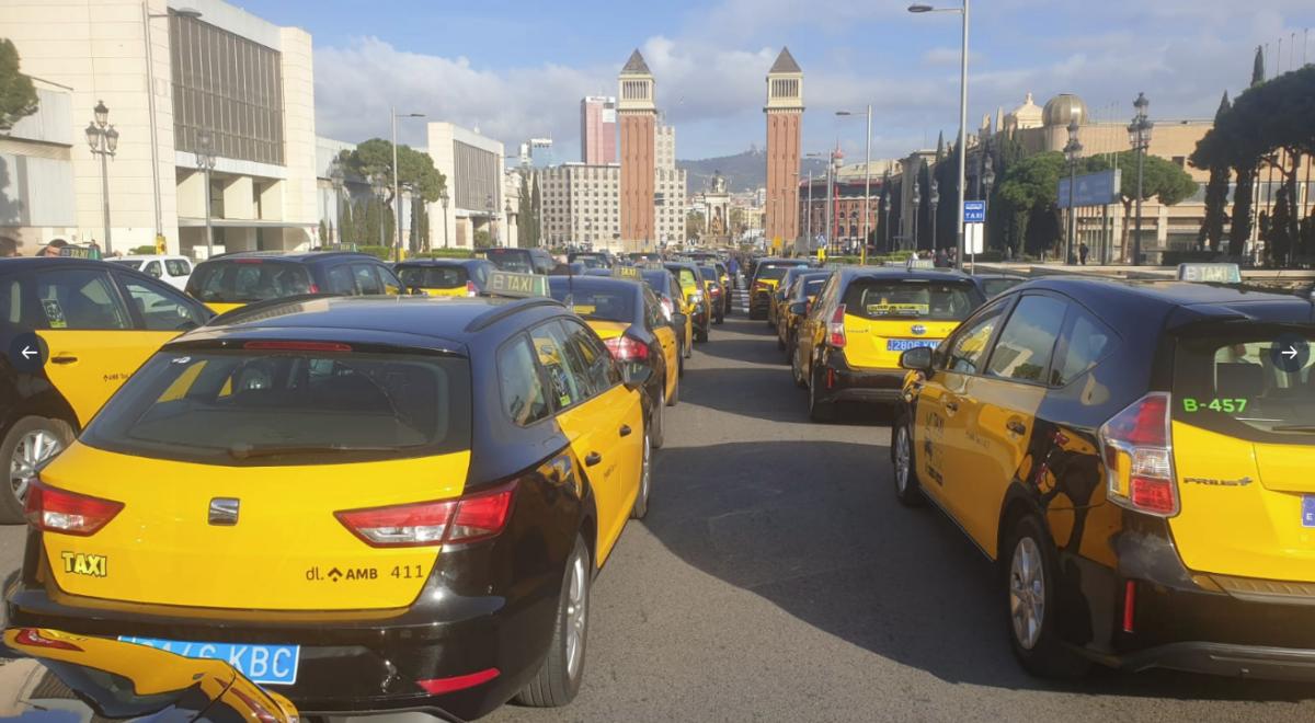 Mobilización de taxistas de Barcelona
